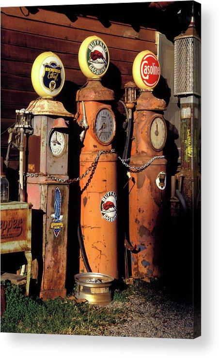 Three Old Gas Pumps Acrylic Print