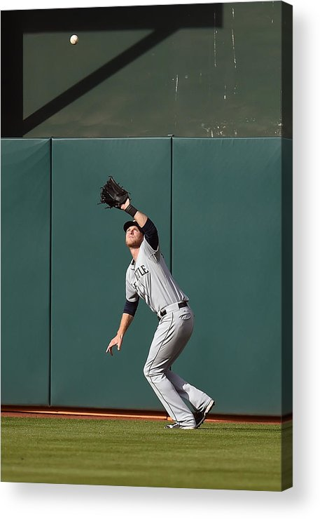 Game Two Acrylic Print featuring the photograph Michael Saunders And Craig Gentry by Thearon W. Henderson
