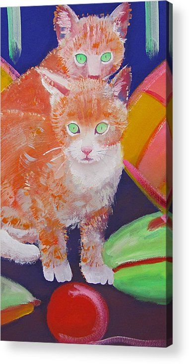 Kittens Acrylic Print featuring the painting kittens With A Ball of Wool by Charles Stuart