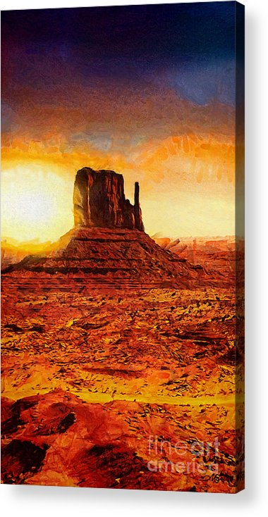 Monument Valley Acrylic Print featuring the painting Monument Valley by Mo T
