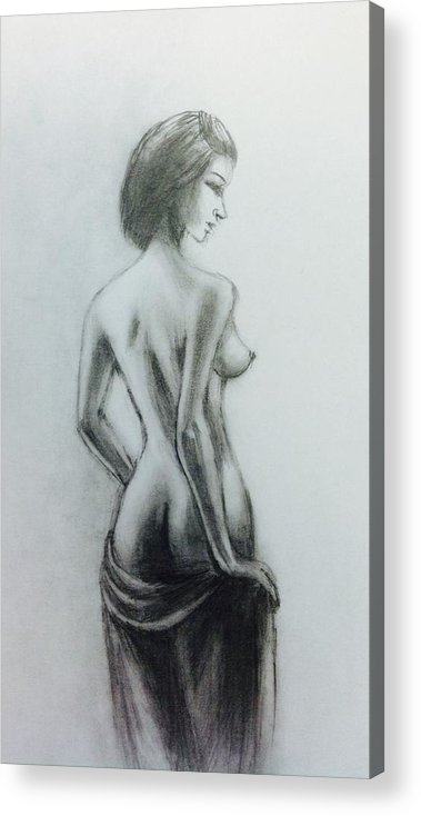 Acrylic Print featuring the drawing Nude Study 24 by Hae Kim