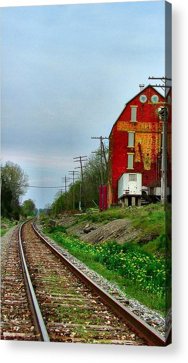 Old Feed Mills Acrylic Print featuring the photograph Old Mill On The Tracks by Julie Dant
