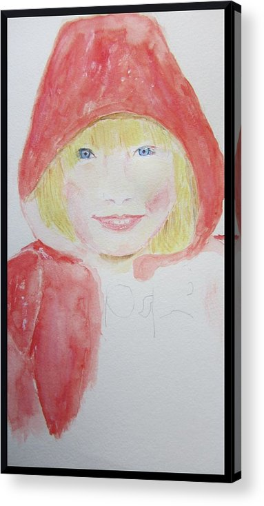 Water Color Portrait Acrylic Print featuring the painting Girl In A Red Hood by Gary Kirkpatrick