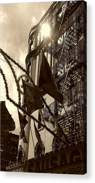Feast Of San Gennaro Acrylic Print featuring the photograph Reflecting In Little Italy by Catie Canetti