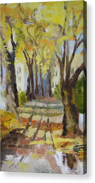 Landscape Acrylic Print featuring the painting Autumn Street by Mabel Moyano