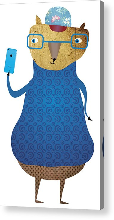 Cool Acrylic Print featuring the painting Cool Cat by Maciej Mackiewicz