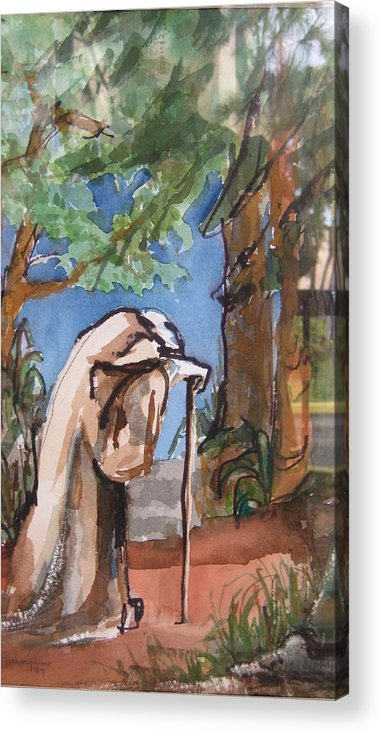 Landscape Acrylic Print featuring the painting I Carry Your Load by Mabel Moyano