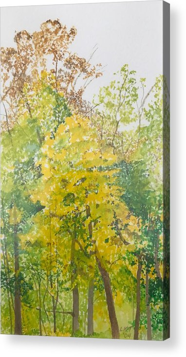 Autumn Acrylic Print featuring the painting Backyard by Leah Tomaino