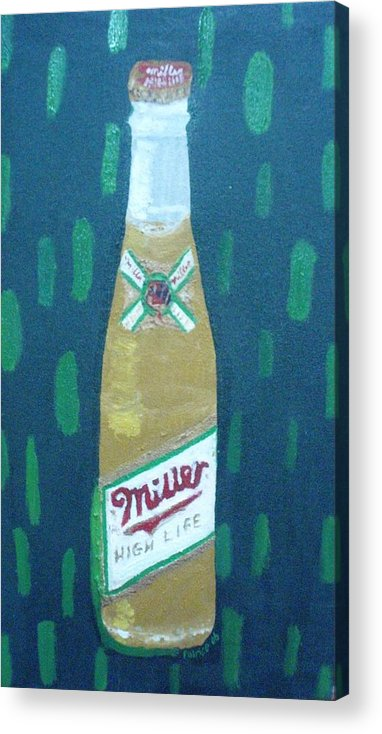 Pop Art Acrylic Print featuring the painting Bottle Of Miller Beer by Patrice Tullai