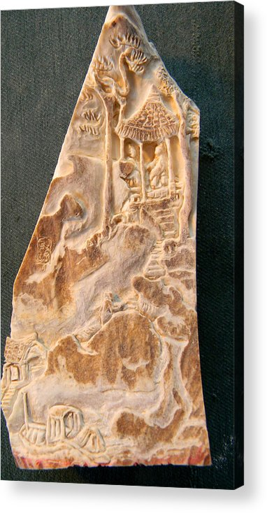 Landscape.figures Acrylic Print featuring the relief Carving A Landscape by Debbi Saccomanno Chan