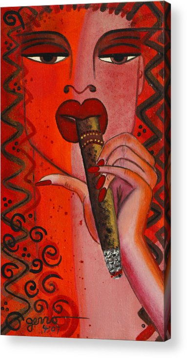 Cigar Artwork Acrylic Print featuring the painting Cigar Moment Corona Cigar by Helen Gerro