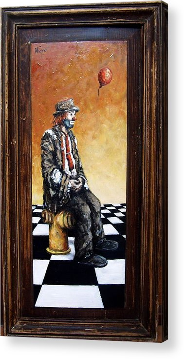 Clown Man Figurative Figure Human Surrealism Chess Emotion Acrylic Print featuring the painting Clown S Melancholy by Natalia Tejera