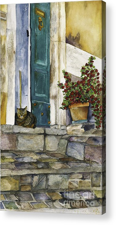 Cat Acrylic Print featuring the painting Di Gatto by Barb Pearson