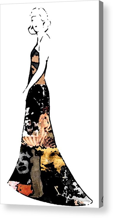 Fashion Sketch Acrylic Print featuring the drawing Haute Couture Beauty by Jennifer Ott