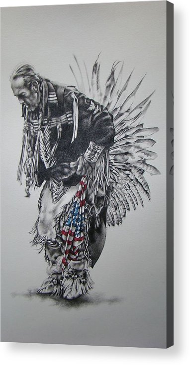 Native Acrylic Print featuring the mixed media I Close My Eyes And Hear The Songs Of My Ancestors by Michael Lee Summers