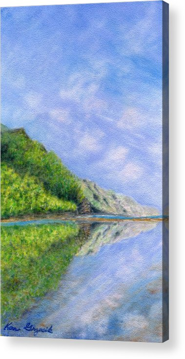 Rainbow Colors Pastel Acrylic Print featuring the painting In Reflection by Kenneth Grzesik