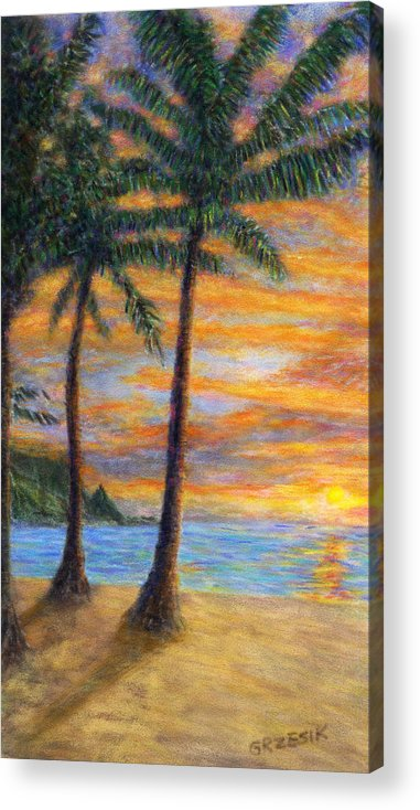 Coastal Decor Acrylic Print featuring the painting Princeville Beach Palms by Kenneth Grzesik