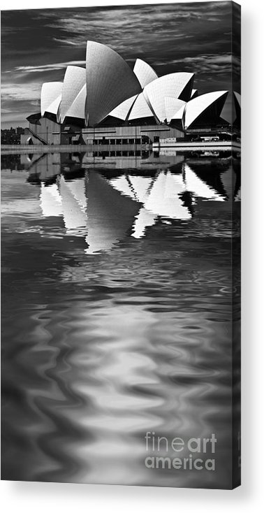 Sydney Opera House Monochrome Black And White Acrylic Print featuring the photograph Sydney Opera House Reflection In Monochrome by Sheila Smart Fine Art Photography