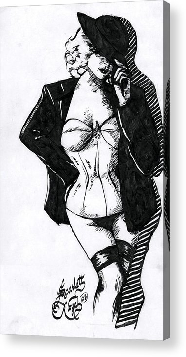 Dancer Acrylic Print featuring the drawing The Tease by Scarlett Royal