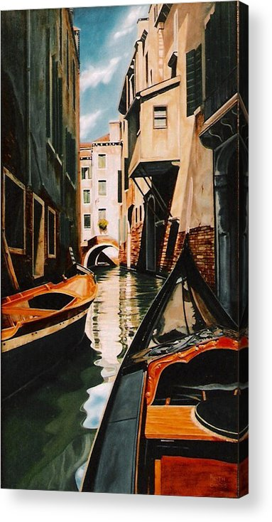 Italy Acrylic Print featuring the painting Venice - Gondola Ride by Keith Gantos