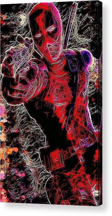 Acrylic Print featuring the mixed media Deadpool by Matra Art