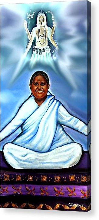 Amma Acrylic Print featuring the painting Amma And Kali by Carmen Cordova
