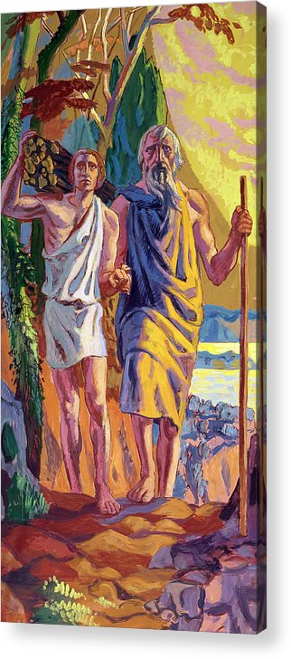 Isaac Acrylic Print featuring the painting Abraham Going To Offer Isaac His Son by Anonymous