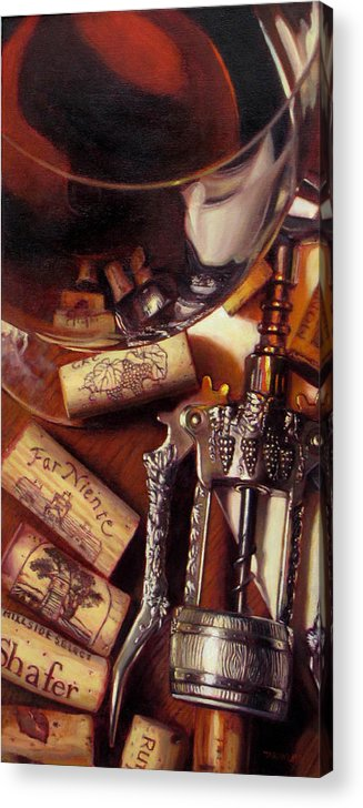 Wine Still Life. Red Wine Acrylic Print featuring the painting Anticipation by Takayuki Harada