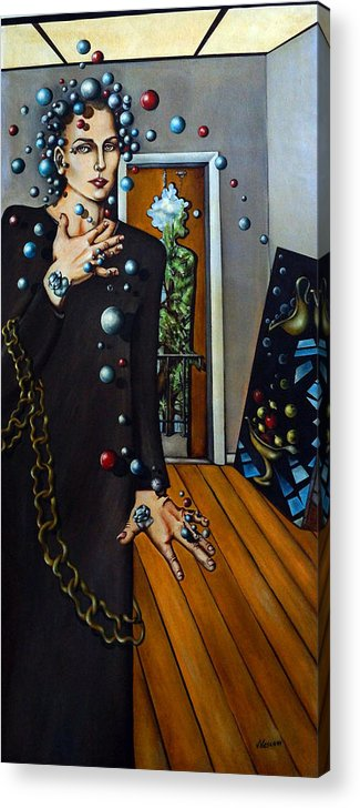 Surreal Acrylic Print featuring the painting Existential Thought by Valerie Vescovi