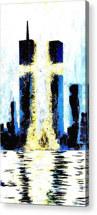 World Trade Center Acrylic Print featuring the painting Held Before 9-11 Hope by Renee Nolan-Riley
