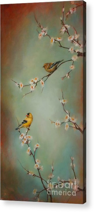 Songbird Acrylic Print featuring the painting Spring Dream by Lori McNee