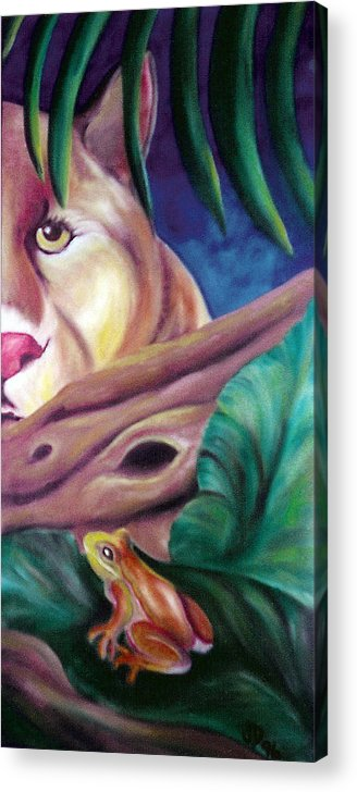 Landscape Acrylic Print featuring the drawing Lioness And Frog by Juliana Dube