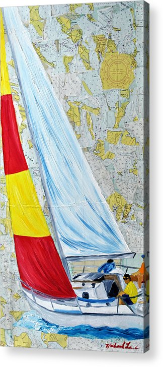 Sailing Acrylic Print featuring the painting Sailing From The Charts by Michael Lee