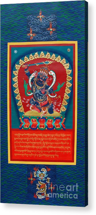 Thangka Acrylic Print featuring the painting Arya Achala - Immovable One by Sergey Noskov