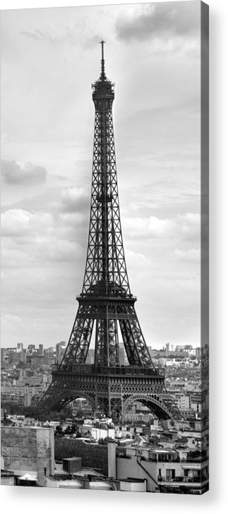 Panoramic Acrylic Print featuring the photograph Eiffel Tower Black And White by Melanie Viola