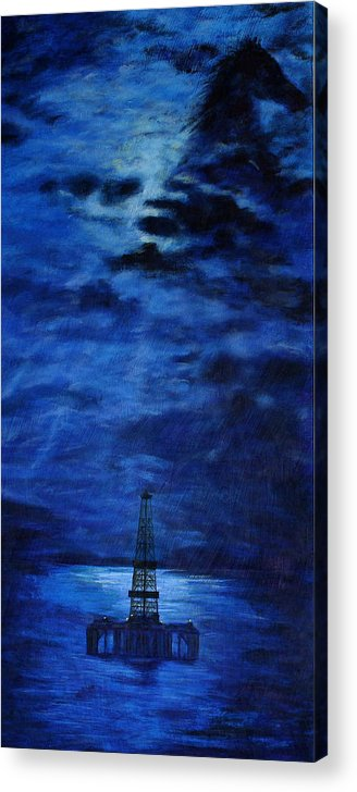 Oil Rig Acrylic Print featuring the painting Ocean Rig by Karen Peterson