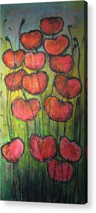 Poppies Acrylic Print featuring the painting Poppies In Oil by Laurie Maves ART