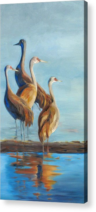 Birds Acrylic Print featuring the painting Sandhill Morning Moment by Elizabeth O'Connor
