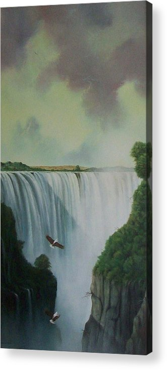Water Acrylic Print featuring the painting Victoria Falls by Don Griffiths