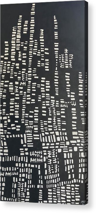 Abstract Acrylic Print featuring the painting Black And White by Hila Abada