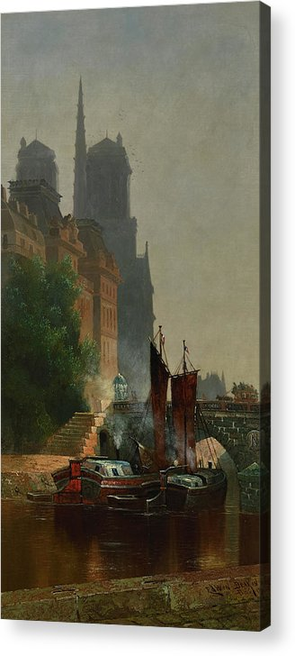 Edwin Deakin Acrylic Print featuring the painting For Notre Dame, Foggy Morning by Edwin Deakin