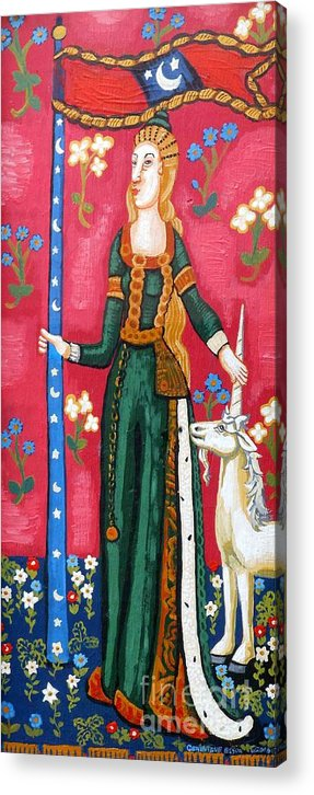 Unicorn Tapestries Acrylic Print featuring the painting Lady And The Unicorn La Pointe by Genevieve Esson