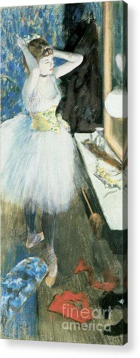 Dancer In Her Dressing Room Acrylic Print featuring the pastel Dancer In Her Dressing Room by Edgar Degas