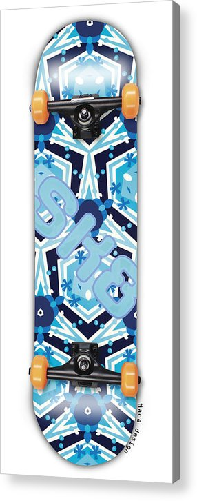 Skateboard Acrylic Print featuring the painting SK8 by Maciej Mackiewicz