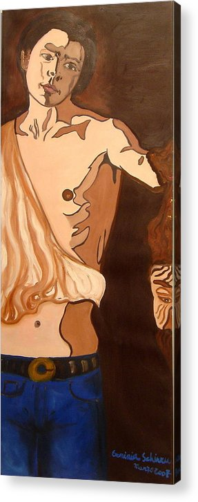 Figurative Acrylic Print featuring the painting The Mask Man by Erminia Schirru