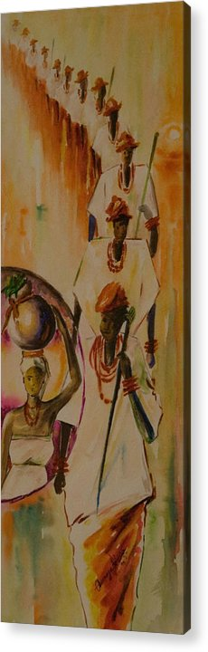Acrylic Print featuring the painting Procession by Alfred Awonuga