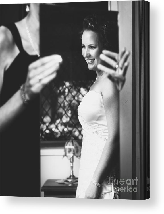 Bride Acrylic Print featuring the photograph Beautiful Bride Getting Ready In Wedding Dress by Jorgo Photography - Wall Art Gallery