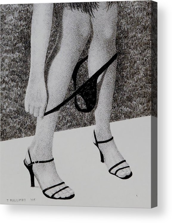 Poker Texas Hold Em Female  Acrylic Print featuring the painting All In by Tony Ruggiero