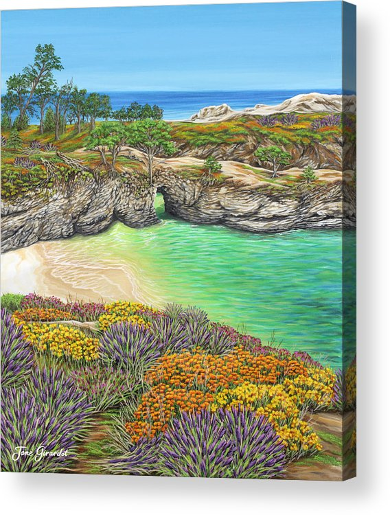 Ocean Acrylic Print featuring the painting China Cove Paradise by Jane Girardot