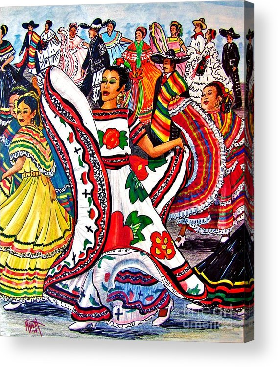 Spanish Dance Acrylic Print featuring the drawing Fiesta Parade by Marilyn Smith